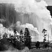 Beehive Geyser Shower In Black And White Poster
