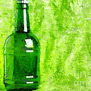 Beer Bottle Over Green Painting Poster