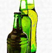 Beer Bottles Of Different Shapes Painting Poster