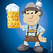Beer Stein Lederhosen Oktoberfest Cartoon Man Poster