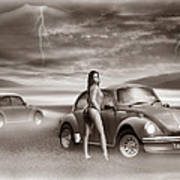 Beetles At The Beach Poster