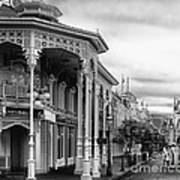 Before The Gates Open In Black And White Walt Disney World Poster