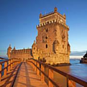 Belem Tower In Lisbon Illuminated At Night Poster