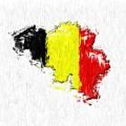 Belgium Painted Flag Map Poster