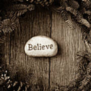 Believe In Text In The Center Of A Christmas Wreath Poster