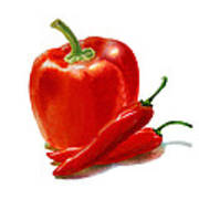 Bell Pepper With Chili Peppers Poster