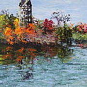 Bell Tower At The Botanic Gardens In Autumn Poster