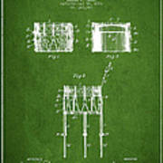 Bemis Snare Drum Patent Drawing From 1886 - Green Poster