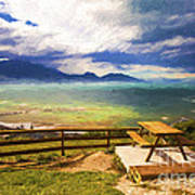 Bench At Kaikora With Approaching Storm Poster