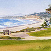 Bench At Powerhouse Beach Del Mar Poster