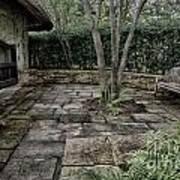 Bench In Lush Garden Poster
