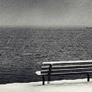 Bench On The Winter Shore Poster