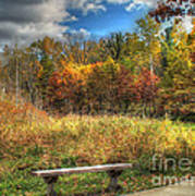 Benched In Autumn Poster
