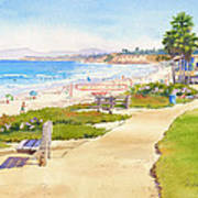 Benches At Powerhouse Beach Del Mar Poster by Mary Helmreich