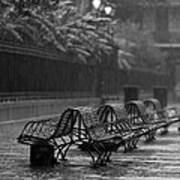 Benches In The Rain Bw Poster
