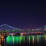 Benjamin Franklin Bridge At Night From Penn's Landing Poster