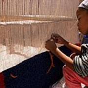 Berber Girl Working On Traditional Berber Rug Ait Benhaddou Southern Morocco Poster