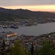 Bergen Sunset Panorama Poster