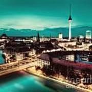 Berlin Germany Major Landmarks At Night Poster