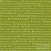 Berlin In Words Olive Poster