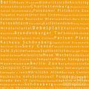 Berlin In Words Orange Poster