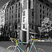 Berlin Street View With Bianchi Bike Poster by Ben and Raisa Gertsberg