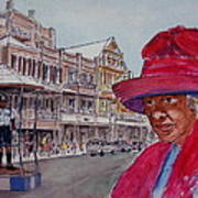 Bermuda Lady In Red And Cop Poster