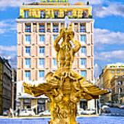 Bernini's Triton Fountain In Piazza Barberini Poster