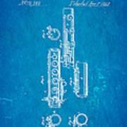 Berteling Flute Patent Art 1868 Blueprint Poster
