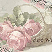 Best Wishes Vintage Roses Card  Poster