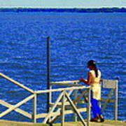 Between Sky And Sea Lachine Canal Viewing Pier Picturesque Water Scenes Montreal Art Carole Spandau Poster