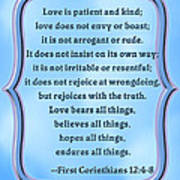 Bible Quote Love Is Patient And Kind Poster