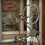 Bicycle Attached To Wall Outside Of Fast Food Restaurant Poster
