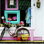 Bicycle By Antique Shop Poster
