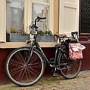 Bicycle With Baby Seat At Doorway Bruges Belgium Poster