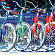 Bicycles In A Row San Diego Poster
