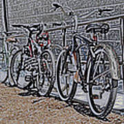Bicycles On A Rail Poster