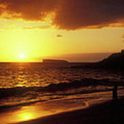 Big Beach Sunset Maui Hawaii Poster
