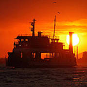 Big Boat At Sunset  Poster