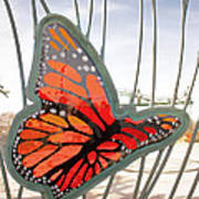 Big Glass Butterfly In Flight Poster