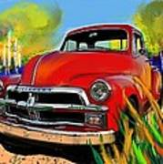 Big Red Chevy Poster
