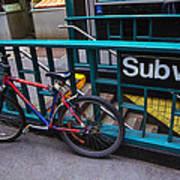 Bike At Subway Entrance Poster