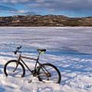 Bike On Frozen Lake Laberge Yukon Canada Poster