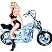 Biker Girl Poster