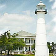 Biloxi Lighthouse Sketch Photo Poster