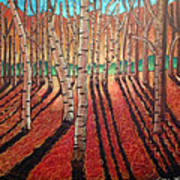 Birch Trees At Dusk Poster