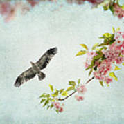 Bird And Pink And Green Flowering Branch On Blue Poster