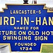 Bird-in-hand City Sign Poster
