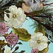 Bird On Pine Branch Poster