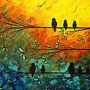 Birds Of A Feather Original Whimsical Painting Poster by Megan Duncanson